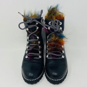 CECELIA* Black Fox Fur TREKKER Boots**US 6.5 $290